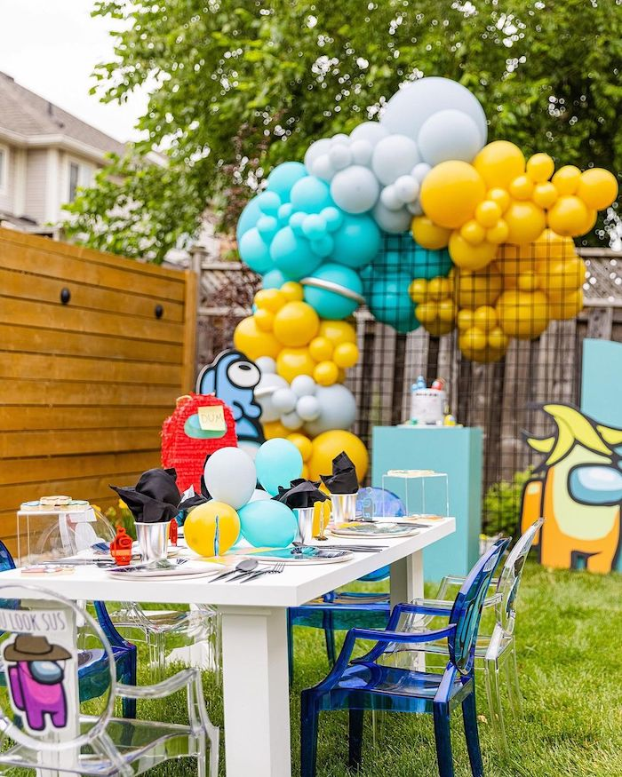 Among Us Kid Table from an Among Us Birthday Party on Kara's Party Ideas | KarasPartyIdeas.com
