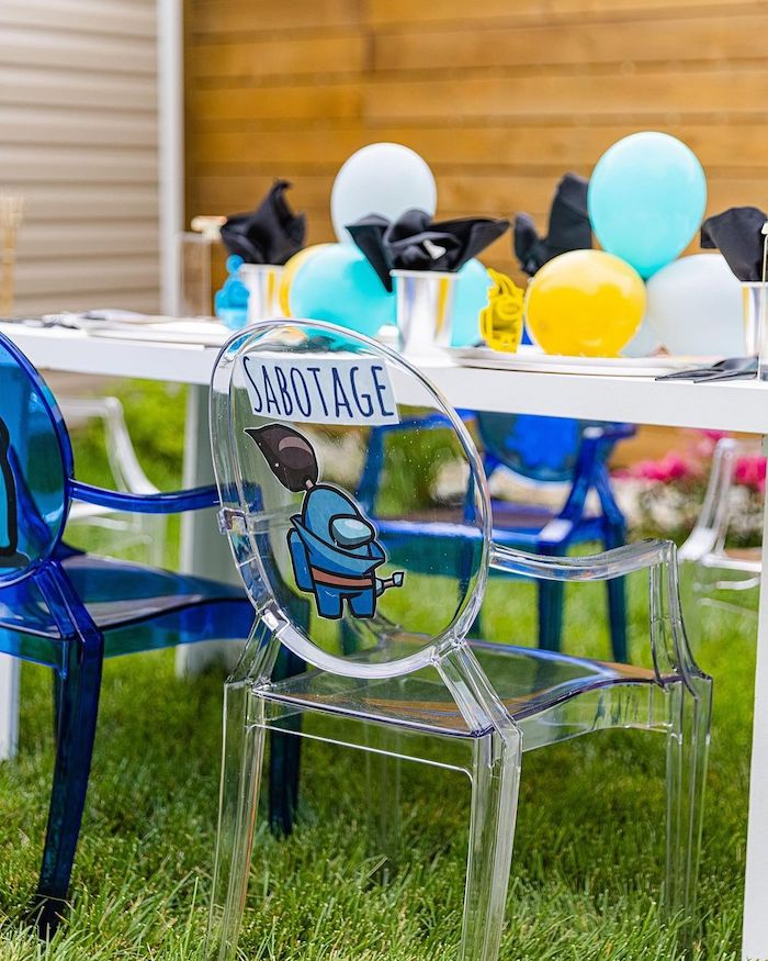 Among Us Character-labeled Ghost Chair from an Among Us Birthday Party on Kara's Party Ideas | KarasPartyIdeas.com