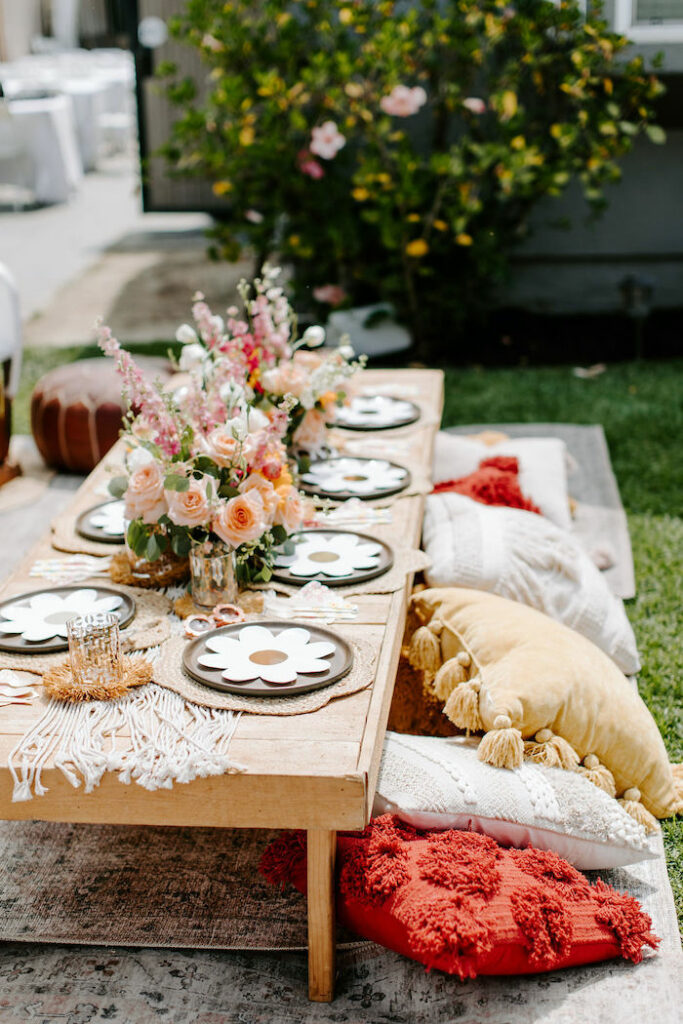 Woodstock-inspired Guest Table from a Boho Floral Woodstock Inspired Birthday Party on Kara's Party Ideas   KarasPartyIdeas.com