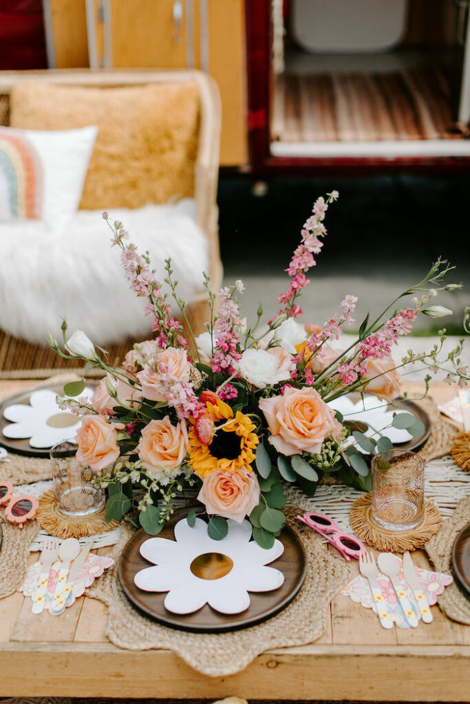 Boho Flower Table Setting from a Boho Floral Woodstock Inspired Birthday Party on Kara's Party Ideas   KarasPartyIdeas.com
