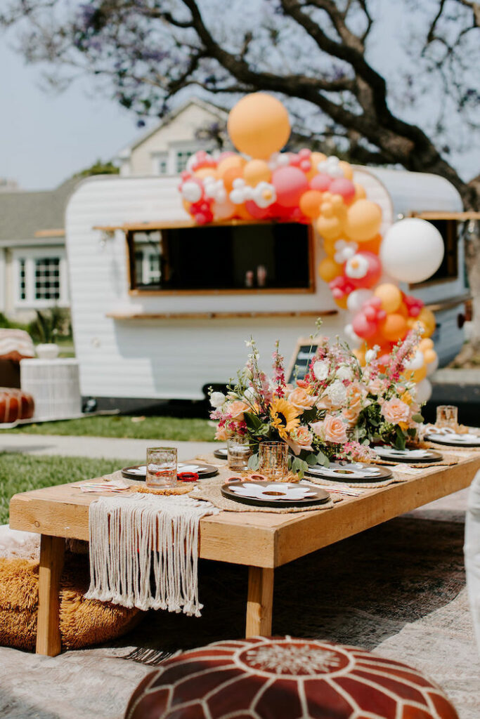 Boho Guest Table from a Boho Floral Woodstock Inspired Birthday Party on Kara's Party Ideas   KarasPartyIdeas.com