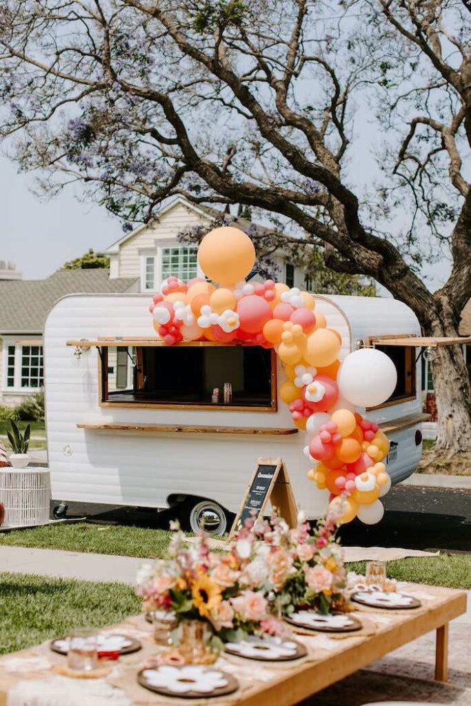 Vintage Camper Concessions Stand from a Boho Floral Woodstock Inspired Birthday Party on Kara's Party Ideas   KarasPartyIdeas.com