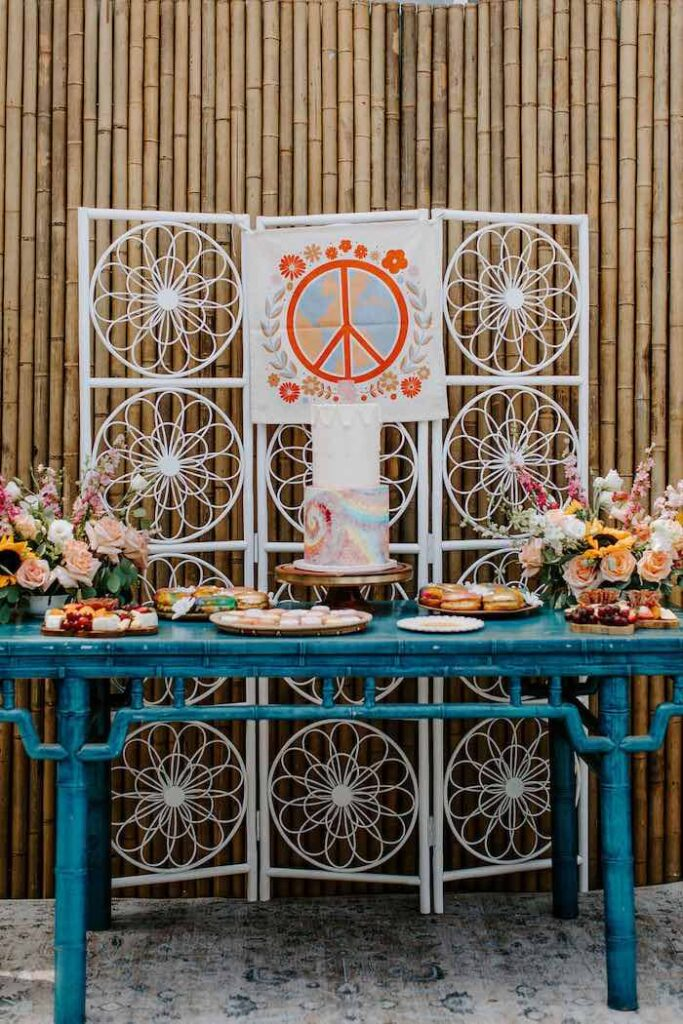 Woodstock-inspired Dessert Table from a Boho Floral Woodstock Inspired Birthday Party on Kara's Party Ideas   KarasPartyIdeas.com