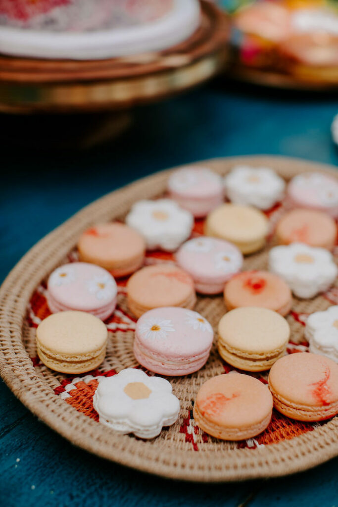 Woodstock-inspired Macarons from a Boho Floral Woodstock Inspired Birthday Party on Kara's Party Ideas   KarasPartyIdeas.com