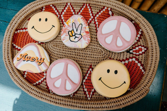 Woodstock-inspired Cookies from a Boho Floral Woodstock Inspired Birthday Party on Kara's Party Ideas   KarasPartyIdeas.com
