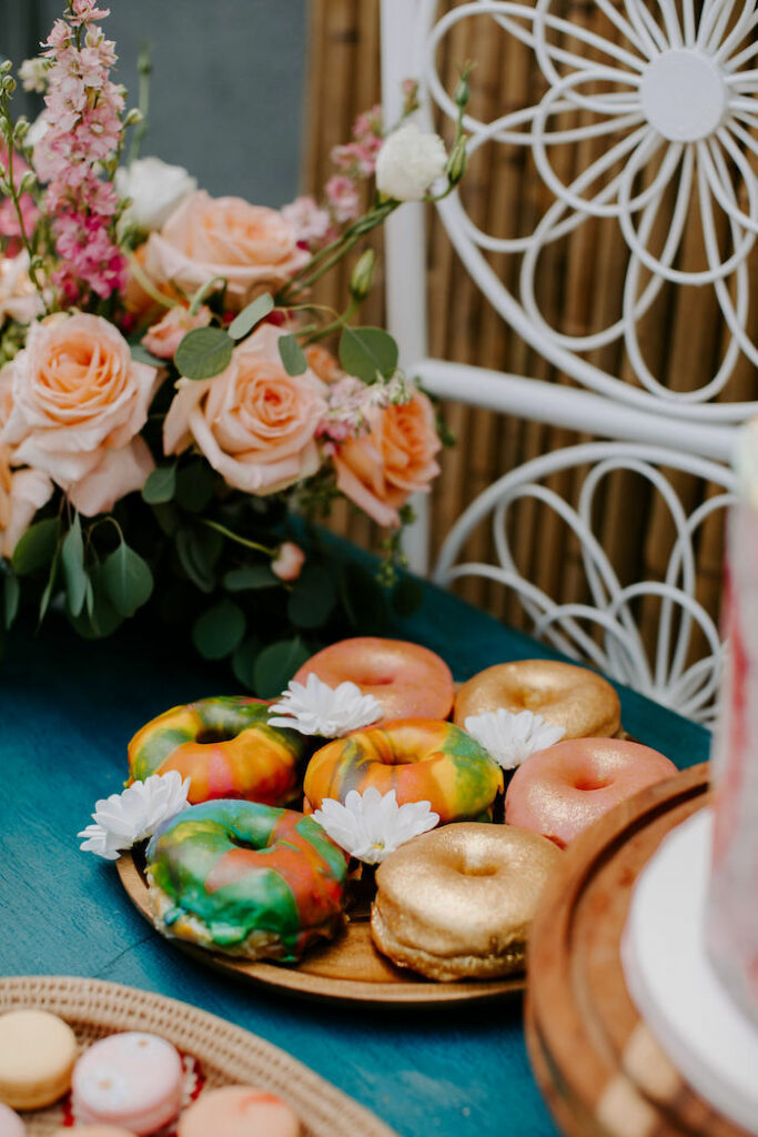 Woodstock-inspired Donuts from a Boho Floral Woodstock Inspired Birthday Party on Kara's Party Ideas   KarasPartyIdeas.com