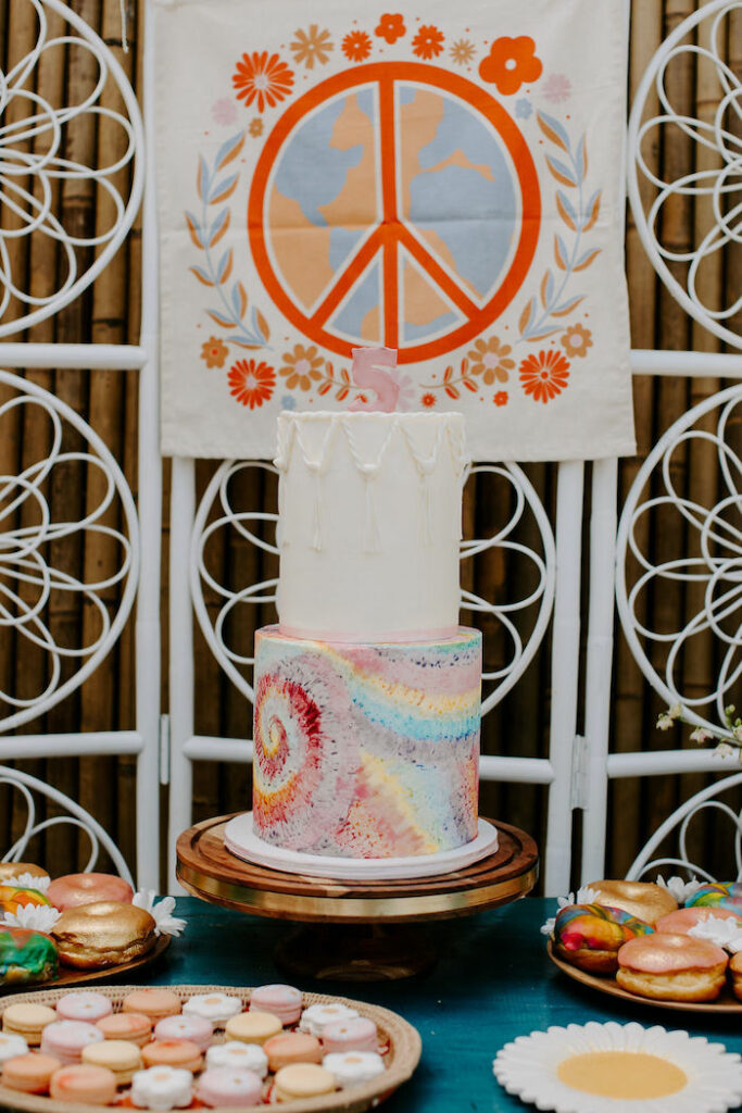 Woodstock-inspired Cake from a Boho Floral Woodstock Inspired Birthday Party on Kara's Party Ideas   KarasPartyIdeas.com