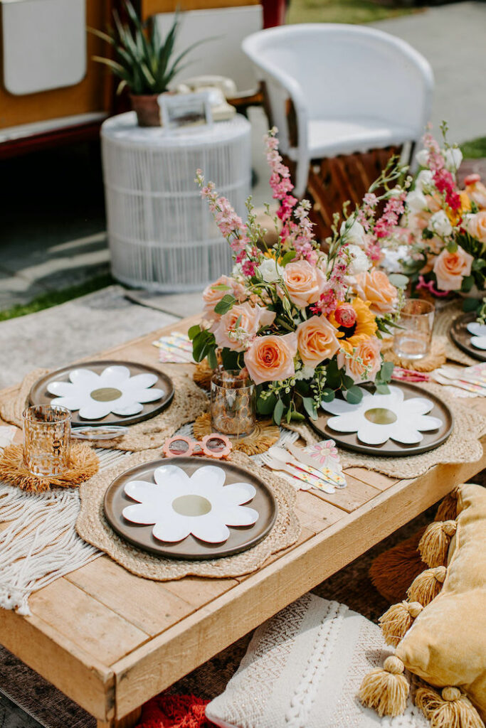 Boho Floral Guest Table from a Boho Floral Woodstock Inspired Birthday Party on Kara's Party Ideas   KarasPartyIdeas.com