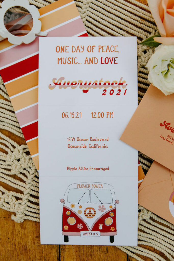 Woodstock-inspired Party Invite + Stationery from a Boho Floral Woodstock Inspired Birthday Party on Kara's Party Ideas   KarasPartyIdeas.com