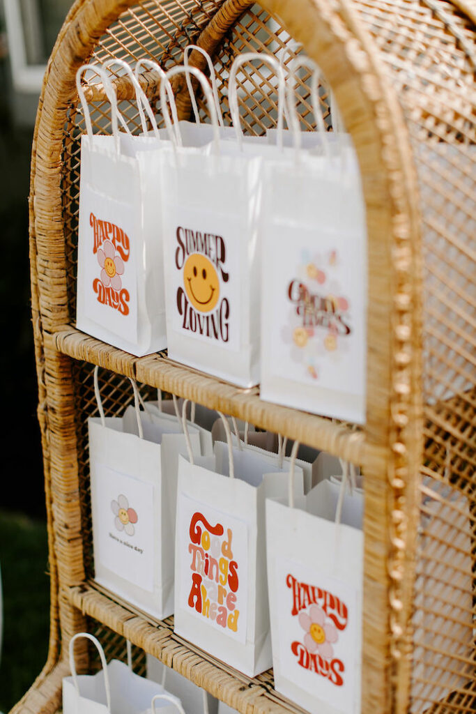 Woodstock-inspired Gift Bags from a Boho Floral Woodstock Inspired Birthday Party on Kara's Party Ideas   KarasPartyIdeas.com