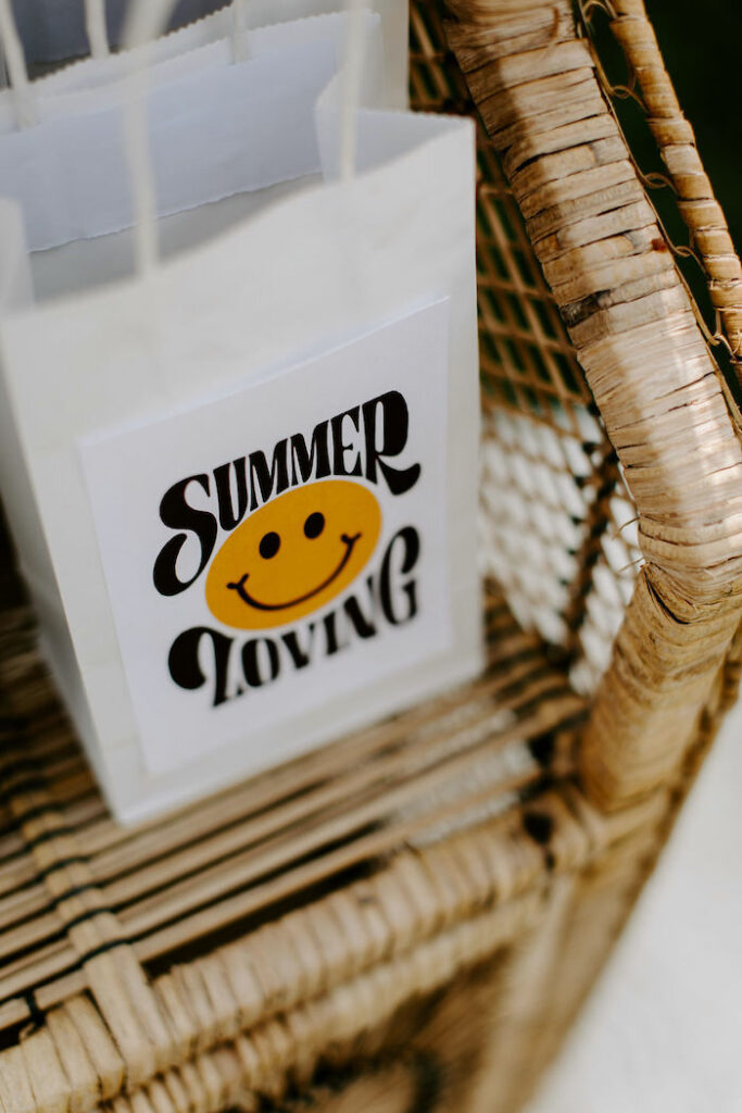 Summer Loving Gift Bag from a Boho Floral Woodstock Inspired Birthday Party on Kara's Party Ideas   KarasPartyIdeas.com
