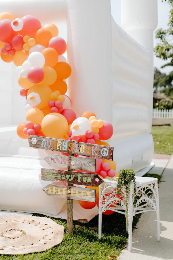 Wood Directional Sign from a Boho Floral Woodstock Inspired Birthday Party on Kara's Party Ideas   KarasPartyIdeas.com