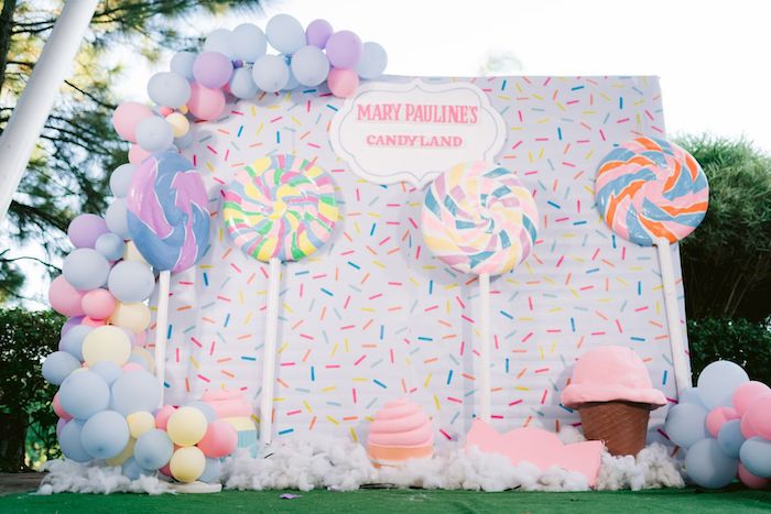Candy Land Backdrop from a Candy Land Castle Birthday Party on Kara's Party Ideas   KarasPartyIdeas.com
