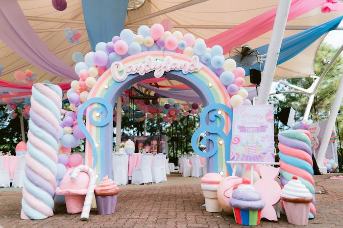 Candy Land Welcome Arch from a Candy Land Castle Birthday Party on Kara's Party Ideas   KarasPartyIdeas.com