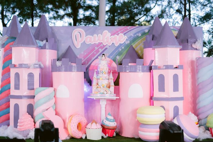 Candy Land Castle Cake Backdrop from a Candy Land Castle Birthday Party on Kara's Party Ideas   KarasPartyIdeas.com