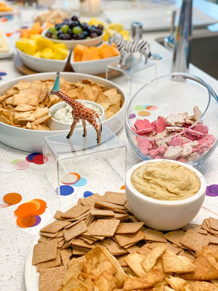 Party Animal Snack Table from a Colorful Party Animals Birthday Party on Kara's Party Ideas | KarasPartyIdeas.com