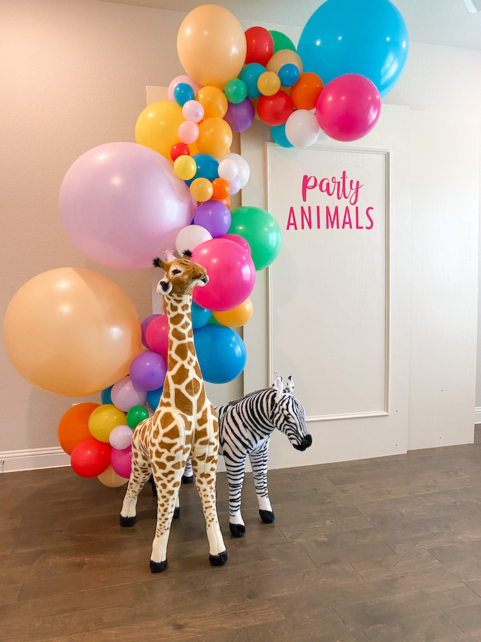 Party Animals Photo Booth from a Colorful Party Animals Birthday Party on Kara's Party Ideas | KarasPartyIdeas.com