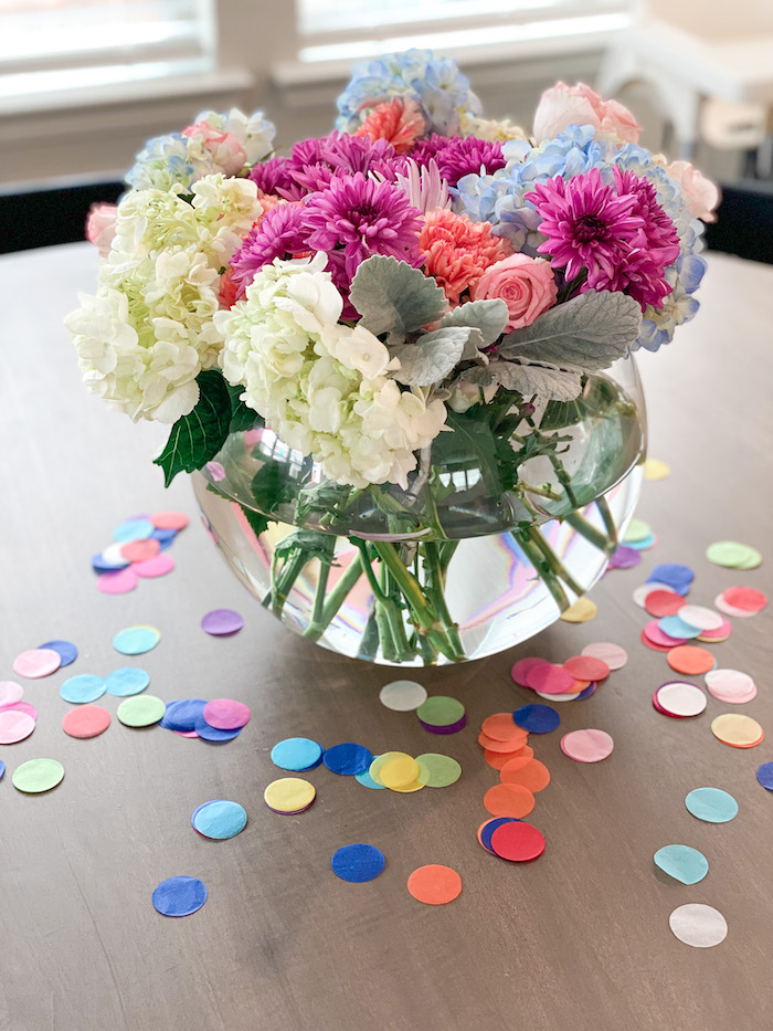 Confetti Floral Arrangement from a Colorful Party Animals Birthday Party on Kara's Party Ideas | KarasPartyIdeas.com