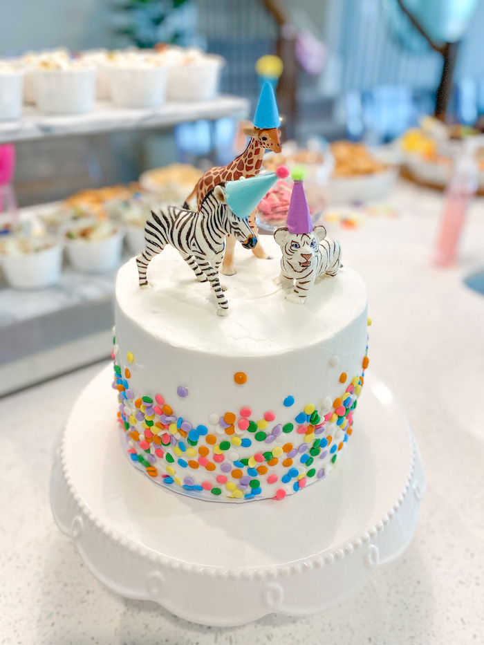 Party Animal Cake from a Colorful Party Animals Birthday Party on Kara's Party Ideas | KarasPartyIdeas.com