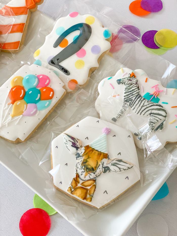 Party Animal Cookies from a Colorful Party Animals Birthday Party on Kara's Party Ideas | KarasPartyIdeas.com