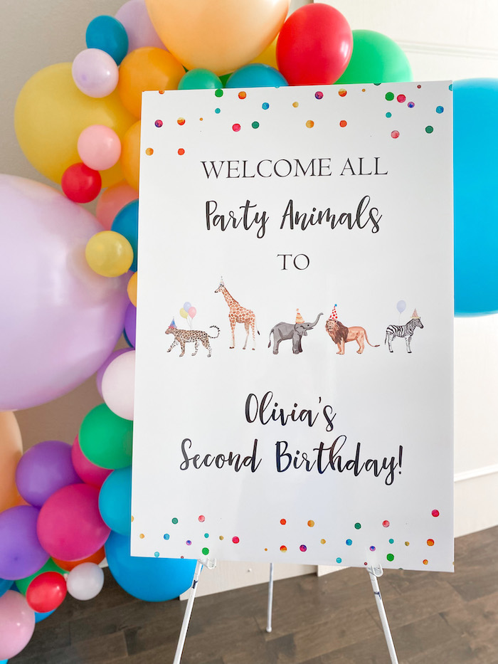 Party Animal Welcome Sign from a Colorful Party Animals Birthday Party on Kara's Party Ideas | KarasPartyIdeas.com