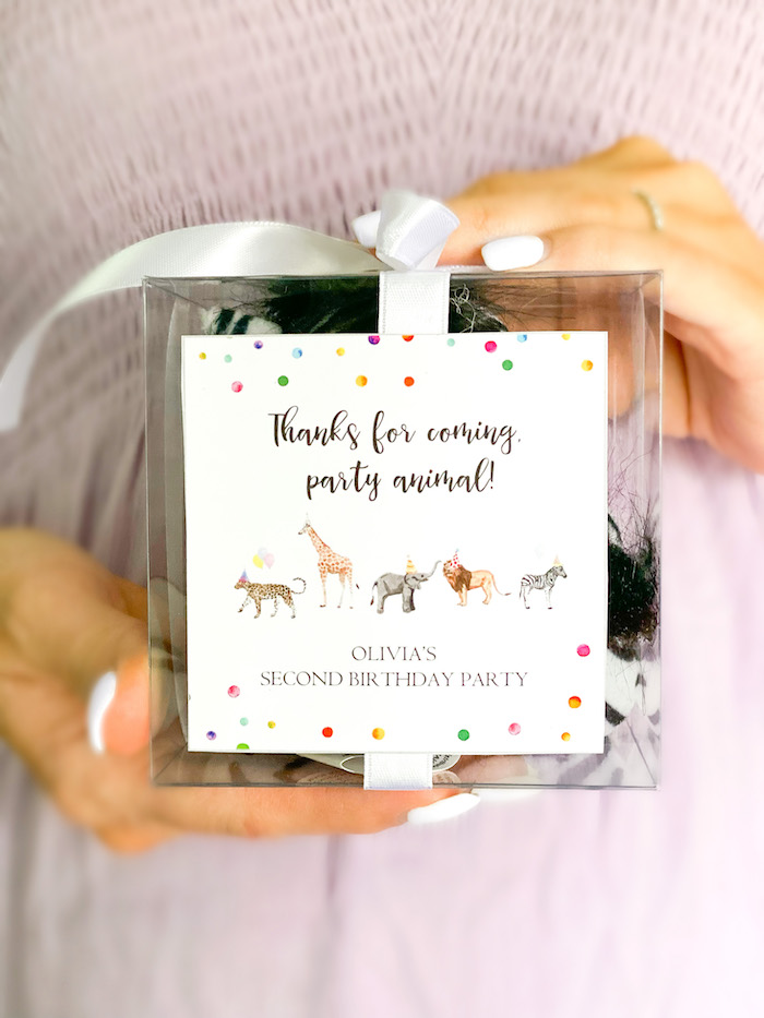 Party Animal Favor Tag from a Colorful Party Animals Birthday Party on Kara's Party Ideas | KarasPartyIdeas.com