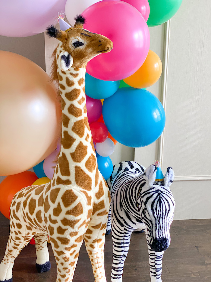 Plush Party Animal Props from a Colorful Party Animals Birthday Party on Kara's Party Ideas | KarasPartyIdeas.com