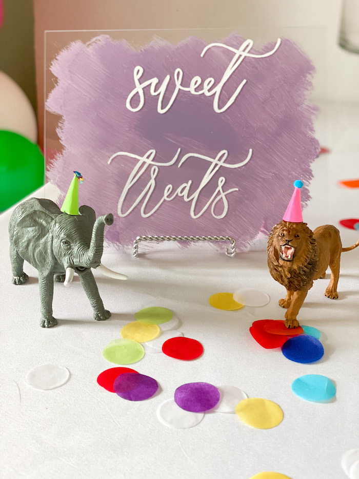 Sweet Treat Table from a Colorful Party Animals Birthday Party on Kara's Party Ideas | KarasPartyIdeas.com