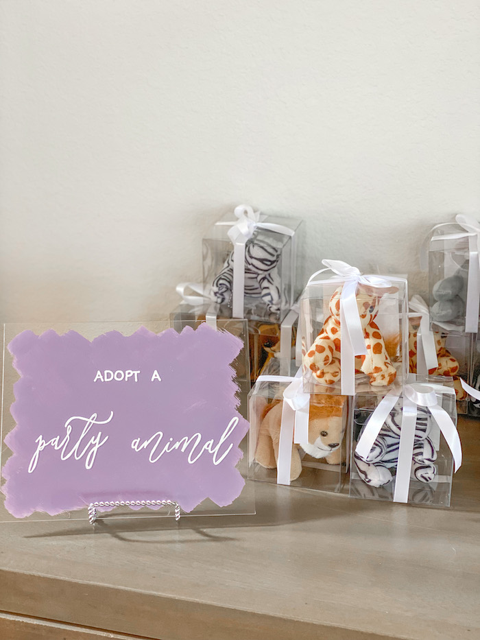 Plush Party Animal Favors from a Colorful Party Animals Birthday Party on Kara's Party Ideas | KarasPartyIdeas.com