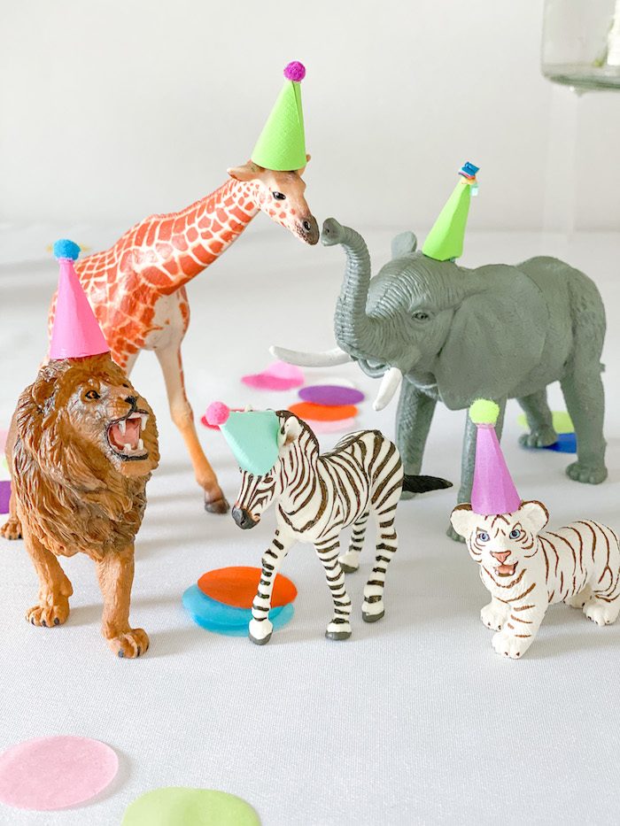 Party Animal Props from a Colorful Party Animals Birthday Party on Kara's Party Ideas | KarasPartyIdeas.com