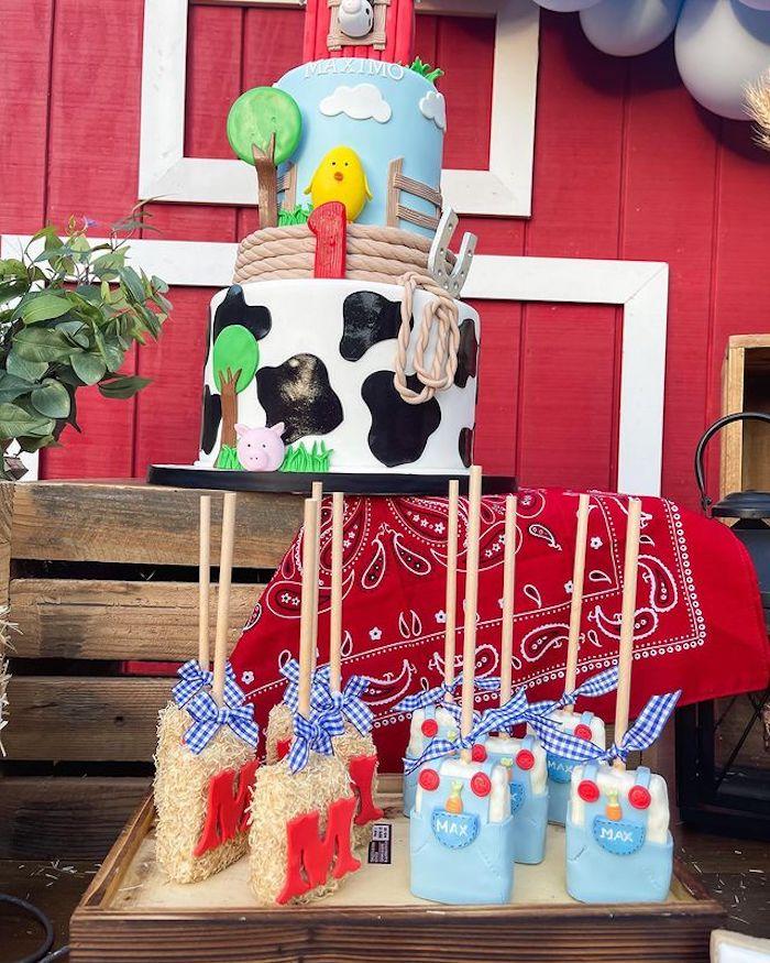 Farm Themed Rice Krispie Treat Pops from a Farm 1st Birthday Party on Kara's Party Ideas | KarasPartyIdeas.com