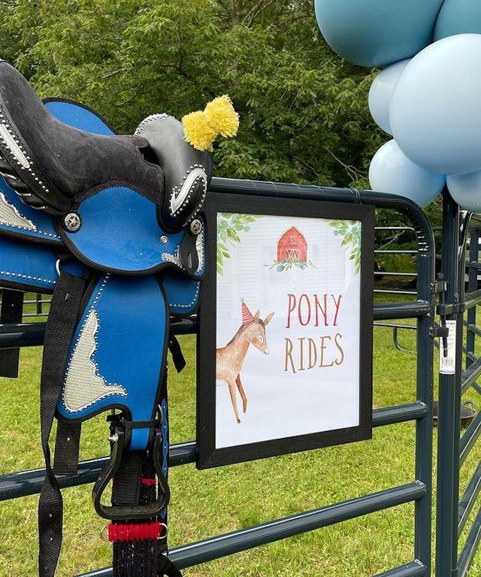 Pony Rides from a Farm 1st Birthday Party on Kara's Party Ideas | KarasPartyIdeas.com