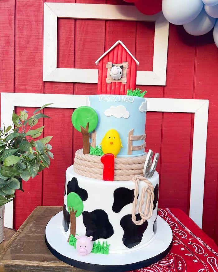 Farm Themed Birthday Cake from a Farm 1st Birthday Party on Kara's Party Ideas | KarasPartyIdeas.com