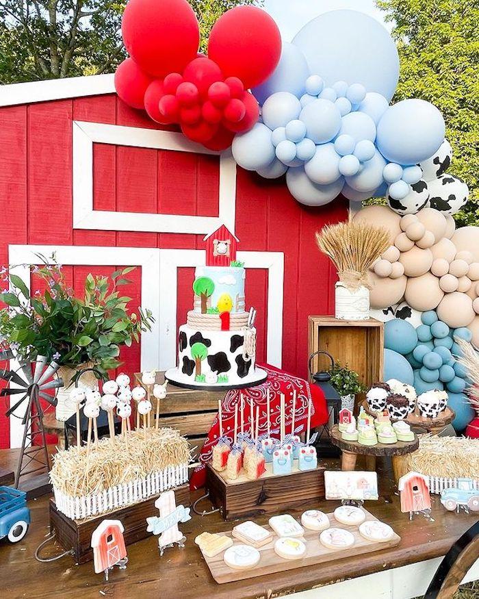 Barnyard Dessert Table from aFarm 1st Birthday Party on Kara's Party Ideas | KarasPartyIdeas.com