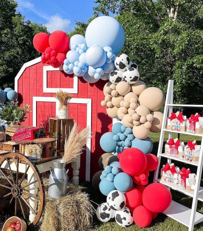 Barnyard Balloon Backdrop from a Farm 1st Birthday Party on Kara's Party Ideas | KarasPartyIdeas.com