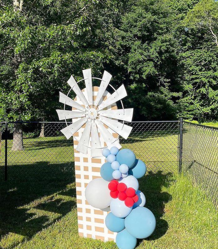 Windmill + Balloon Decoration from a Farm 1st Birthday Party on Kara's Party Ideas | KarasPartyIdeas.com