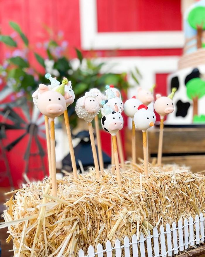 Farm Animal Cake Pops from a Farm 1st Birthday Party on Kara's Party Ideas | KarasPartyIdeas.com
