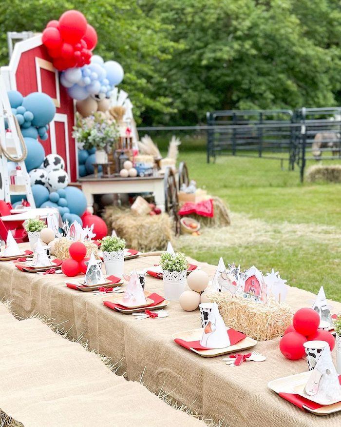 Farm Themed Kid Table from a Farm 1st Birthday Party on Kara's Party Ideas | KarasPartyIdeas.com