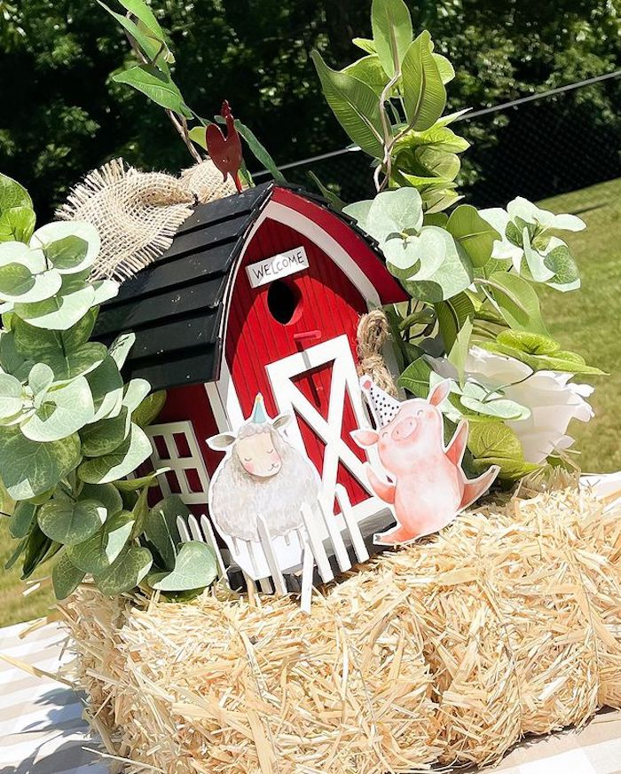 Welcome Barn Centerpiece from a Farm 1st Birthday Party on Kara's Party Ideas | KarasPartyIdeas.com