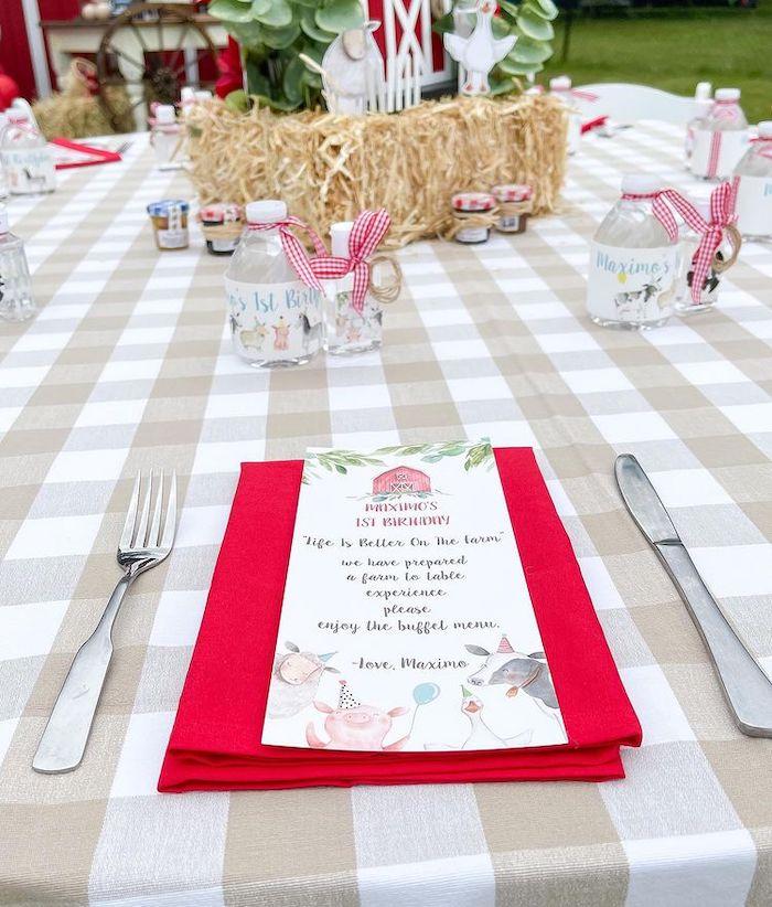 Farm Themed Table Setting from a Farm 1st Birthday Party on Kara's Party Ideas | KarasPartyIdeas.com