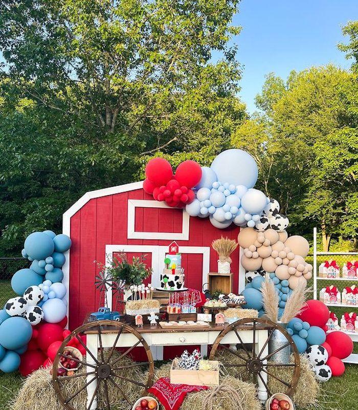 Barnyard Dessert Table from a Farm 1st Birthday Party on Kara's Party Ideas | KarasPartyIdeas.com