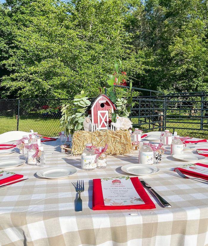 Farm Themed Guest Table from a Farm 1st Birthday Party on Kara's Party Ideas | KarasPartyIdeas.com