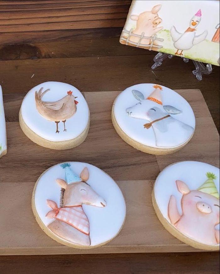 Farm Themed Cookies from a Farm 1st Birthday Party on Kara's Party Ideas | KarasPartyIdeas.com
