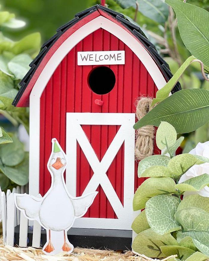 Mini Welcome Barn from a Farm 1st Birthday Party on Kara's Party Ideas | KarasPartyIdeas.com