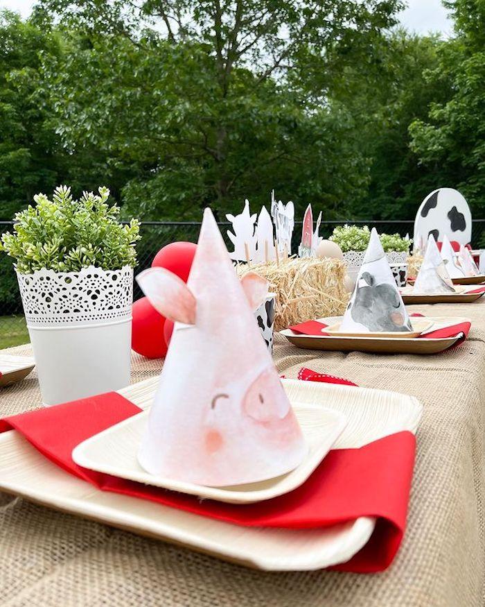 Farm Animal Party Hat Table Setting from a Farm 1st Birthday Party on Kara's Party Ideas | KarasPartyIdeas.com