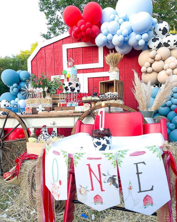 Farm Themed Party Highchair from a Farm 1st Birthday Party on Kara's Party Ideas | KarasPartyIdeas.com