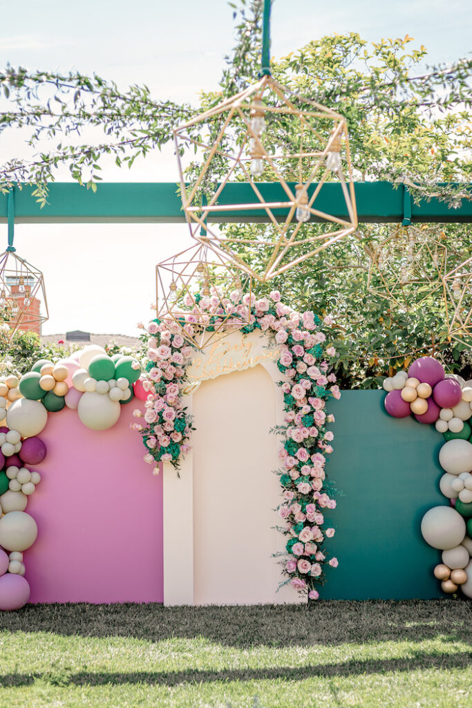 Modern Panel Backdrop from a Modern Chic Gender Reveal Party on Kara's Party Ideas | KarasPartyIdeas.com