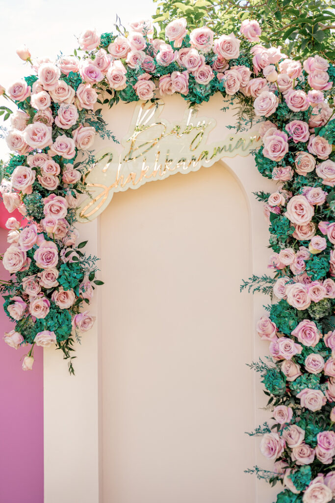 Modern Rose Panel Backdrop from a Modern Chic Gender Reveal Party on Kara's Party Ideas | KarasPartyIdeas.com
