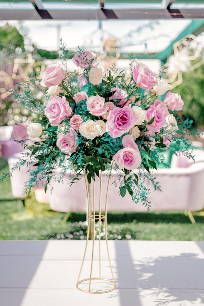 Modern Floral Arrangement from a Modern Chic Gender Reveal Party on Kara's Party Ideas | KarasPartyIdeas.com