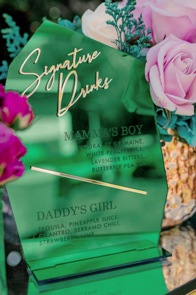 Acrylic Drink Menu from a Modern Chic Gender Reveal Party on Kara's Party Ideas | KarasPartyIdeas.com